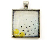 Abstract Art Pendant - Yellow Black White Grid Lines Circles Grunge Collage Art to Wear Jewelry - CharleneSevier