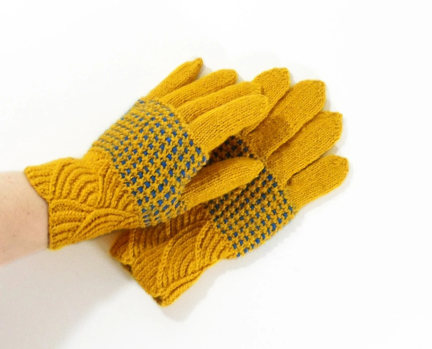 Hand Knitted Gloves - Yellow, Size Medium - UnlimitedCraftworks