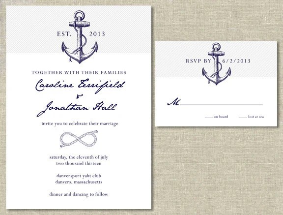 Nautical Wedding Invitation Amp RSVP Card Set DIY Printable