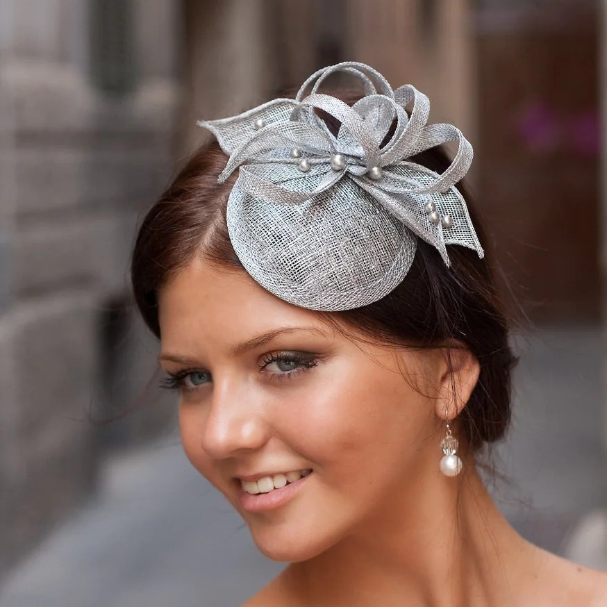 Silver Cocktail Hat With Flower And Swarovski Pearls Bridal