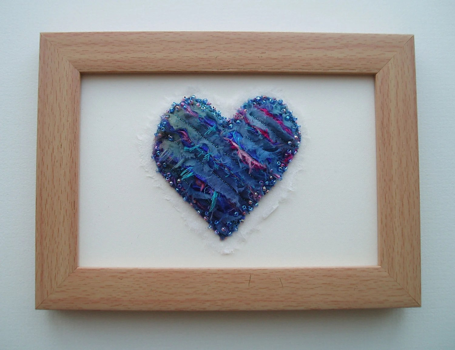 HEART PICTURE in blue and pink fiber fabric and beads