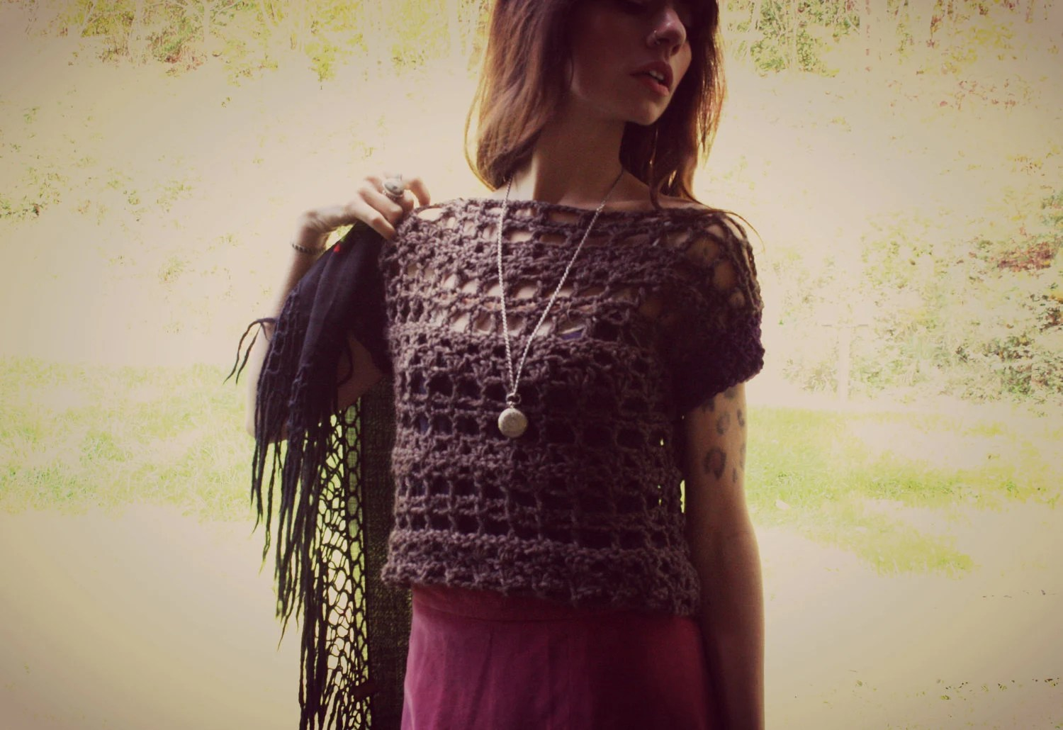 crochet crop sweater. lace sweater vest with short sleeves in earth brown and royale purple. size small to medium. ready to ship