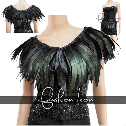 Celeb Feather Hand made Cape Shawls Scarf Wrap Shrugs for Party Evening Dress