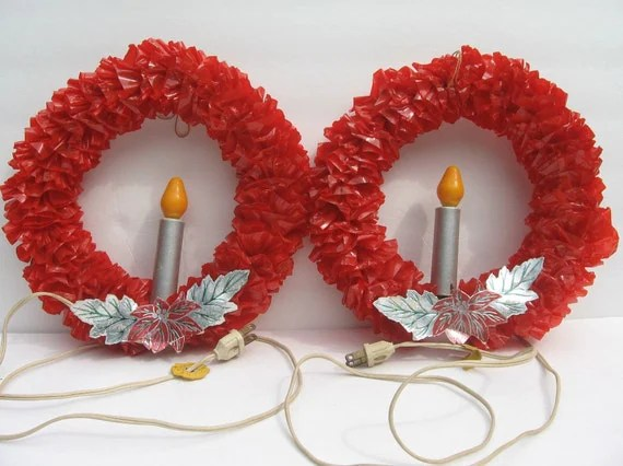 2 Red Cellophane Wreath Christmas Vintage Light 10 In