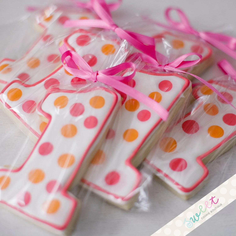 Polka Dot Number One Cookies One Dozen Sugar Cookies