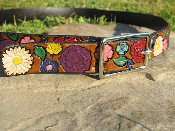 Hand Painted Tooled Leather Belt - Flowers - Adult sizes