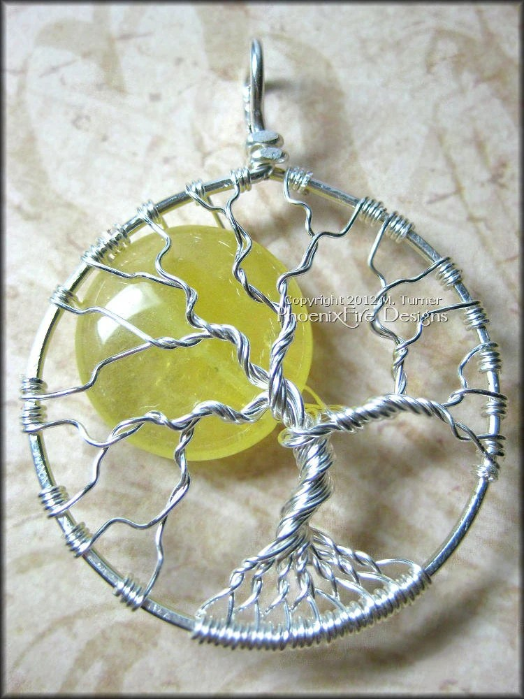 Wire Wrapped Sun Tree of Life Pendant Yellow Jade Sun Handmade Jewelry Sterling Silver (Summer Solstice Sunny Sunshine Sol) - PhoenixFireDesigns