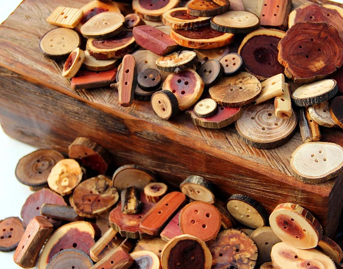 Huge Handmade Wooden Button Lot - over 100 buttons