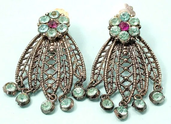 Vintage 1950s, glam, silver tone filigree & rhinstone/ paste, flower clip on earrings