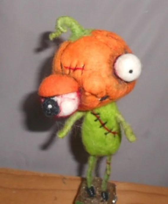 Zombie Jack O Lantern needle felted art doll
