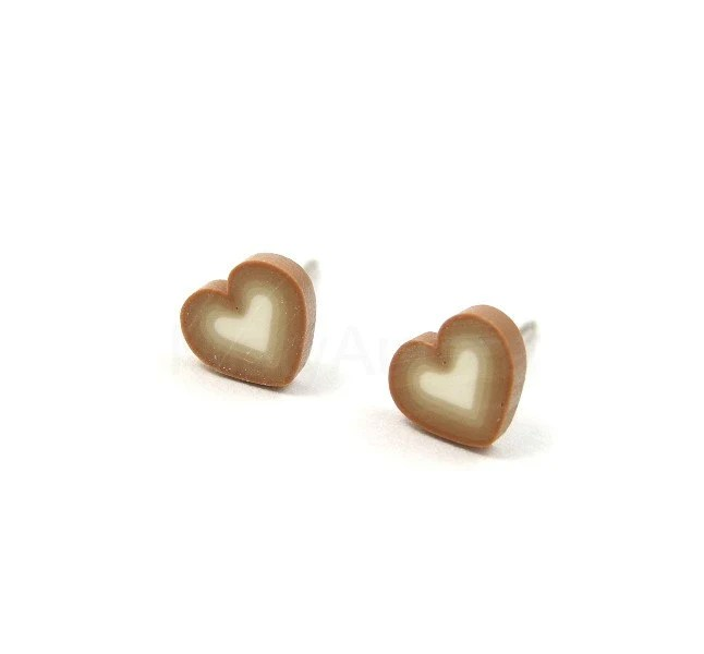 Tiny Heart Earrings - Ombre Earrings - Beige Brown White Studs Cute Everyday Jewelry Free Shipping Etsy Gift for her under 10 - MistyAurora