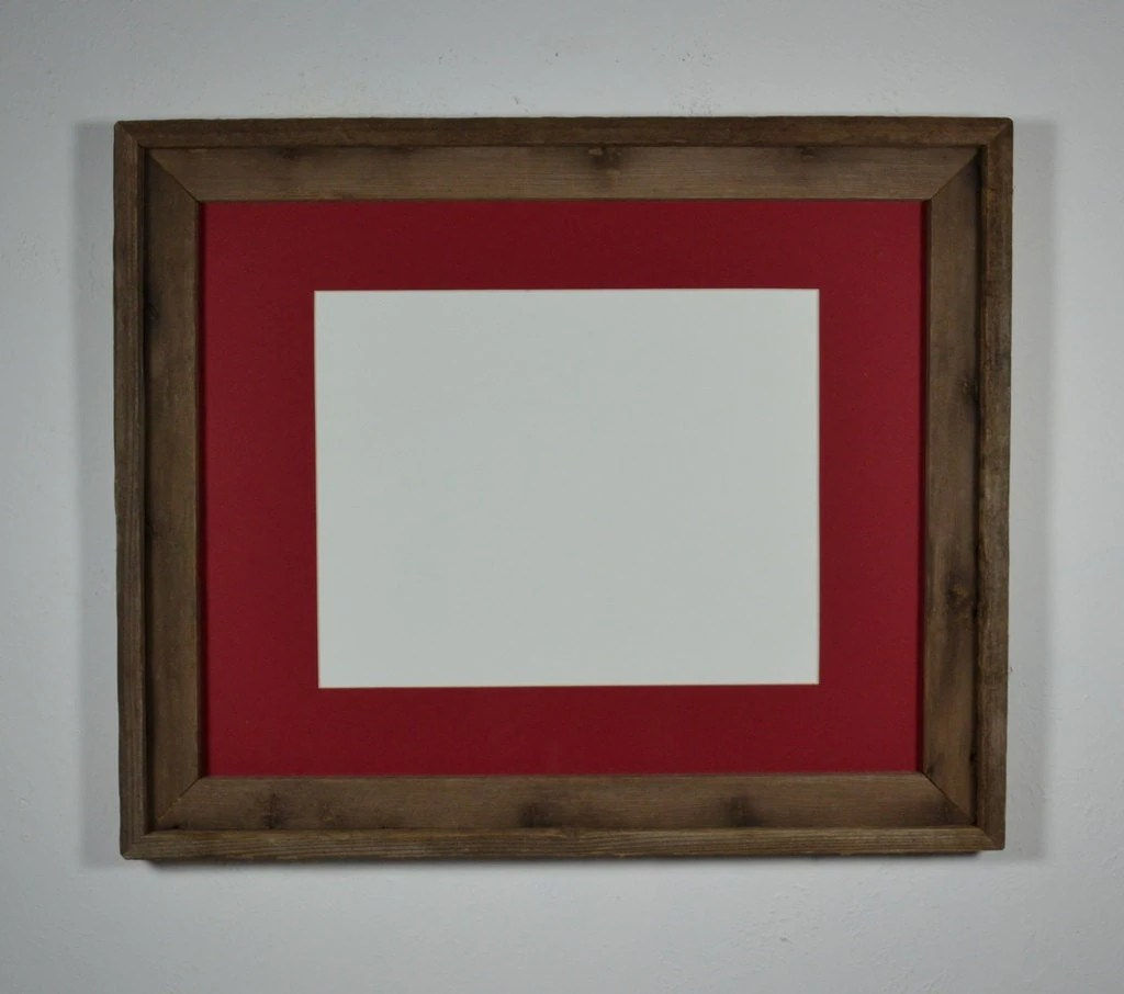 16x20 Recycled Barn Wood Frame Red Mat For 11x14 Photos