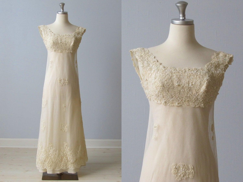 1960s Wedding Dress / 60s Bridal Gown / Lace Sheath / Blush