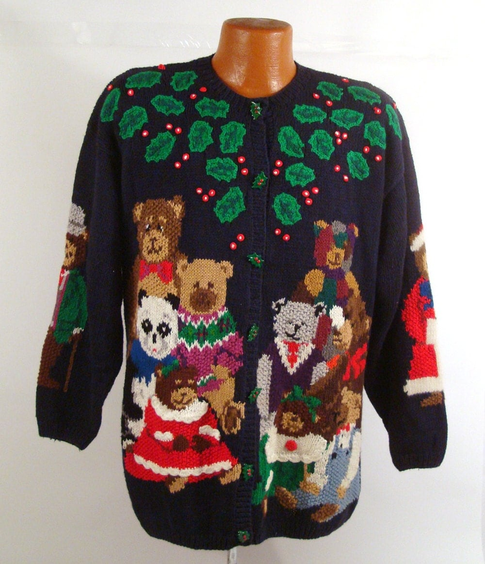 Ugly Christmas Sweater Vintage Cardigan Teddy Bears And Holly