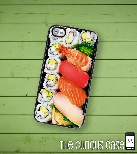 iPhone 4S Case Slim Profile  Sushi Bento Box Hard Case /Hard Case For iPhone 4 and iPhone 4S Japanese Sushi Plate  Rubber Trim - TheCuriousCaseLLC