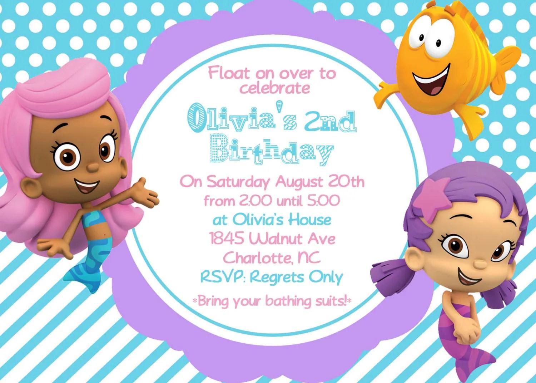 Bubble Guppy Girls Birthday Invite Card By Ashalinaballerina