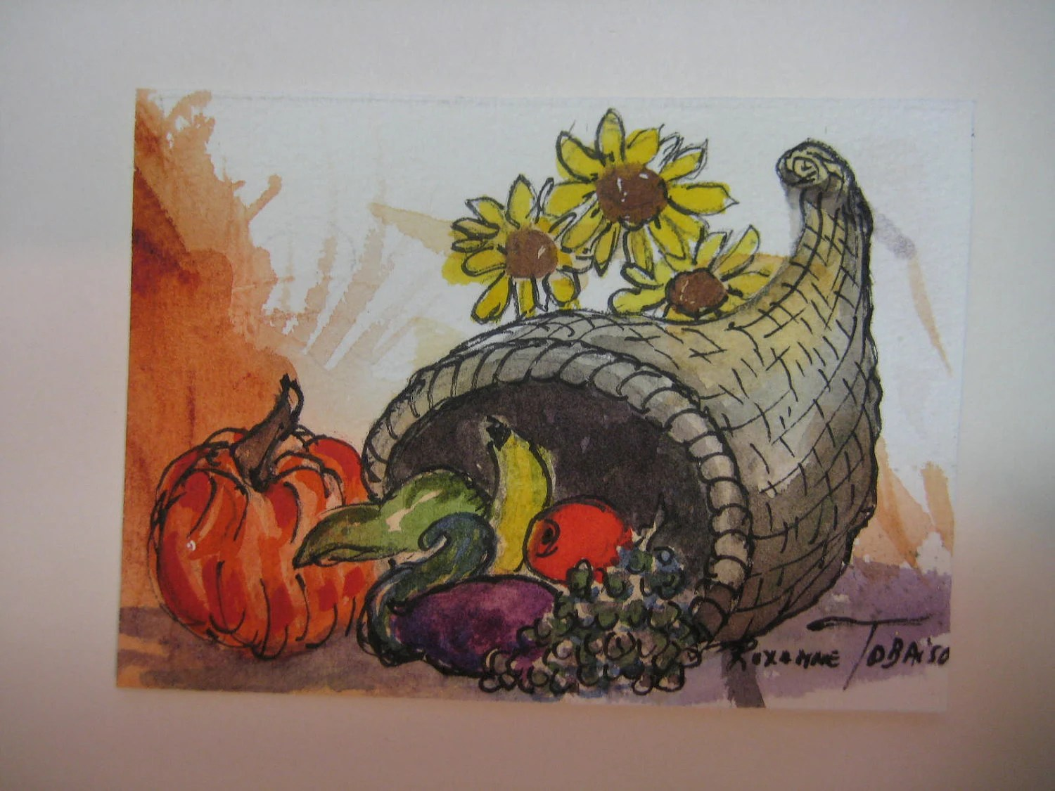 Cornucopia with Sunflowers, ACEO, original watercolor painting Fall harvest, Autumn,  295 thanksgiving - watercolorsNmore