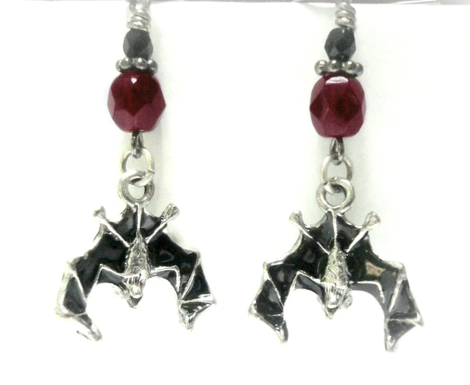 Gothic Vampire Earrings Halloween Bats in Antiqued Pewter Gothic Jewelry