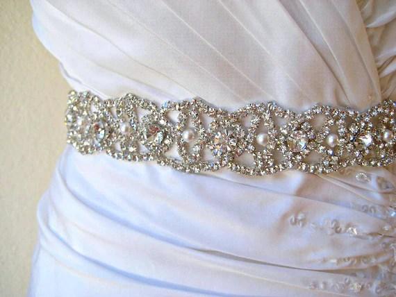 Bridal Beaded Wedding Dress Belt. Swarovski Pearl Crystal
