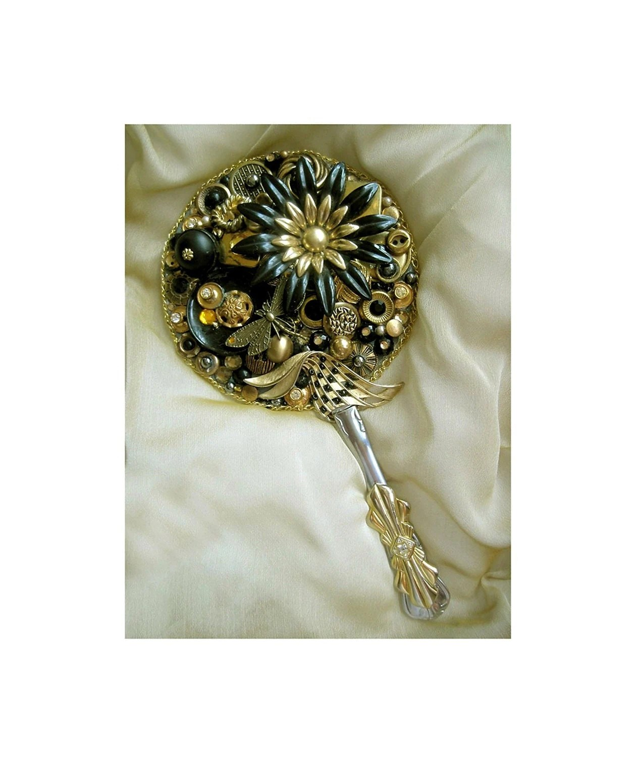 Hand Held Mirror Recycled Vintage Jewelry Buttons Fantasy