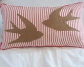 Bird pillow, red ticking stripes - barnaclesally