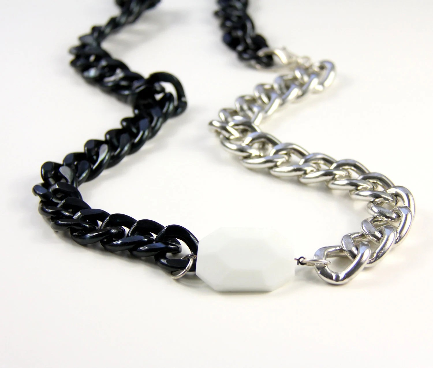 Large White Stone Chunky Chain Necklace Black Silver Chunky Chain Statement Necklace LE BLANC NOIR - CalypteCollection