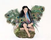Fairy doll OOAK cloth art soft sculpture: peacock fairy, peacock feathers, fairy wings - Tattermedallion