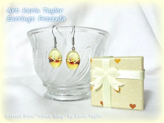 "Little Bird from ""Whale Song"" - Glass Earrings"