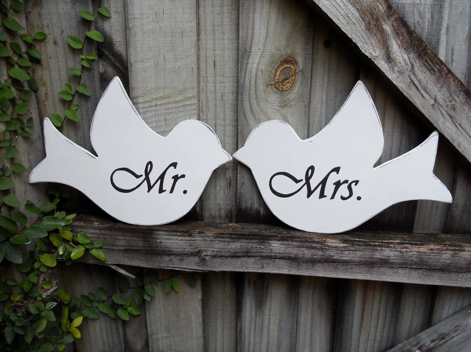 Mr. And Mrs. Love Bird Wedding Chair Signs