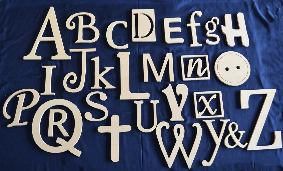 Unfinished Wooden Alphabet Nursery Decor Wooden Alphabet