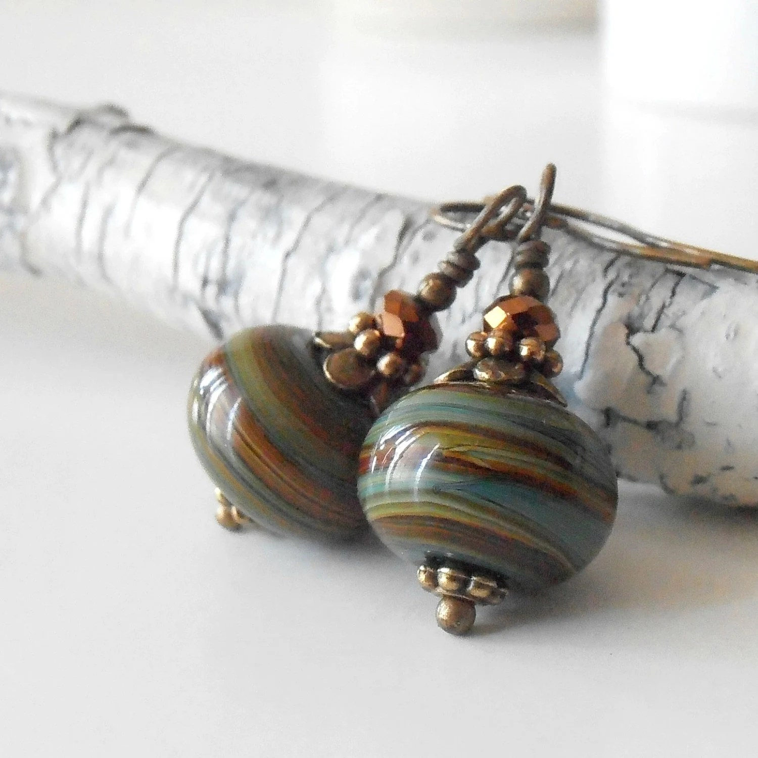 Glass Bead Earrings Green and Brown Lampwork Dangles Woodland Style Antiqued Bronze Earthtone Casual Beaded Jewelry - CopperNichols