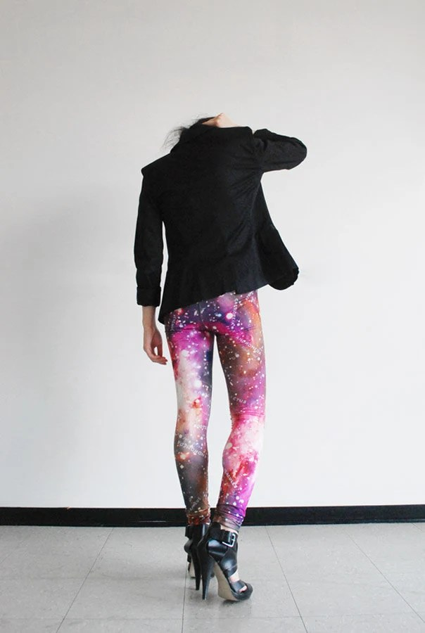 Galaxy Leggings, Pink - Hand Printed Constellations - Statement Tights