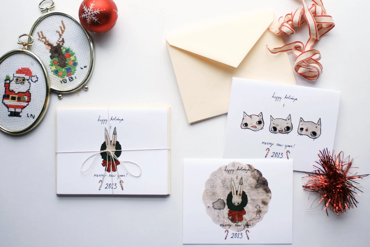 Holiday Greeting Card Set, Limited Edition - Cats, Rabbit, and Doily 2013 Christmas & New Years Cards - beyourpet