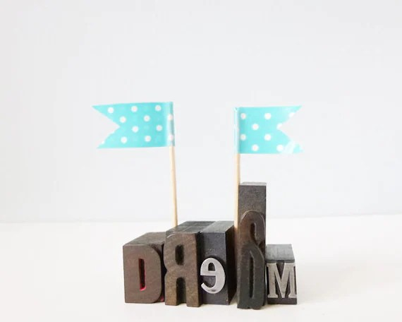 DREAM romantic inspirational letterpress type wood metal blocks