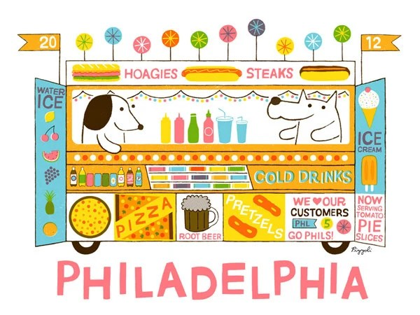 5 Color Screenprint : Philadelphia Food Truck - doctorpizzoli