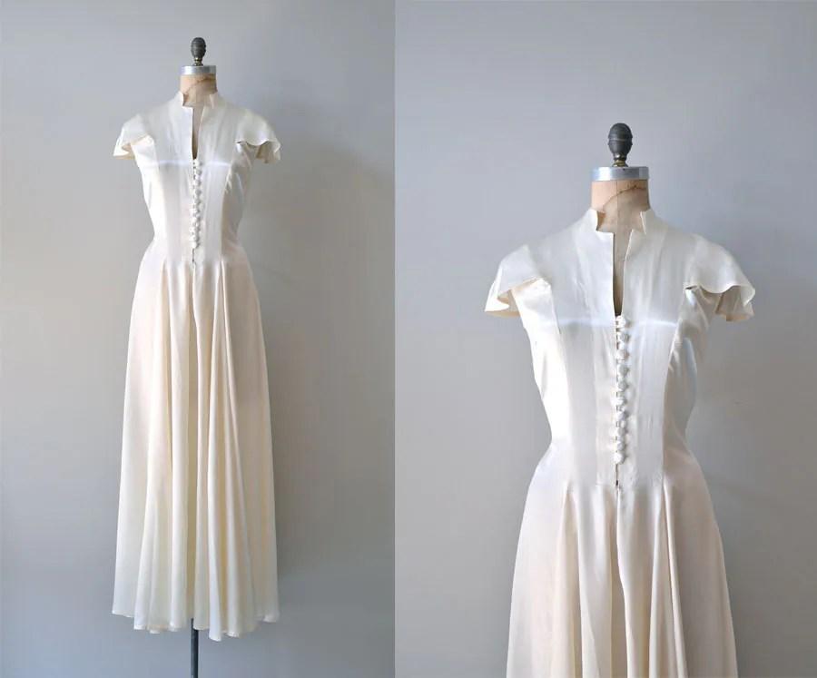 1930s Wedding Dress / Vintage 30s Dress / Fair Temple Gown