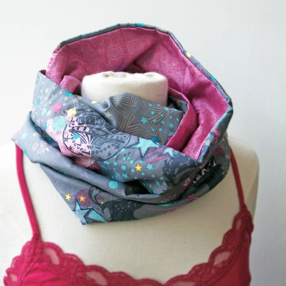 This reversible circle infinity scarf can be worn long or doubled up for extra snugness. The circus fabric was purchased on a trip to Utrecht so is in very limited supply!