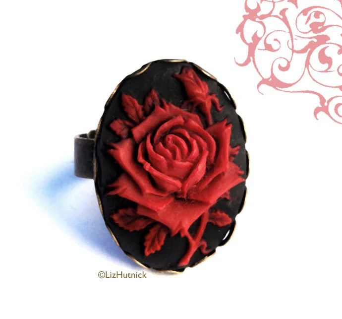 On SALE Today. Gothic Rose Ring. Black and Red Rose Cameo. Adjustable Ring. Goth Victorian. Cocktail Ring. Statement Ring - LizHutnick