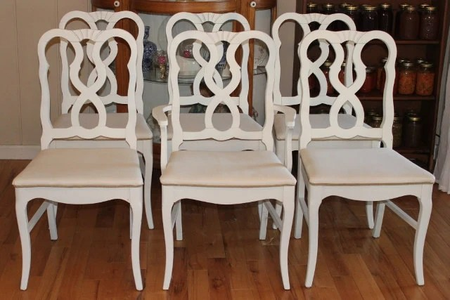 6 French Country Dining Chairs Painted White And Newly