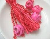 Pink Sugar Skull Beaded Tassel Keyring