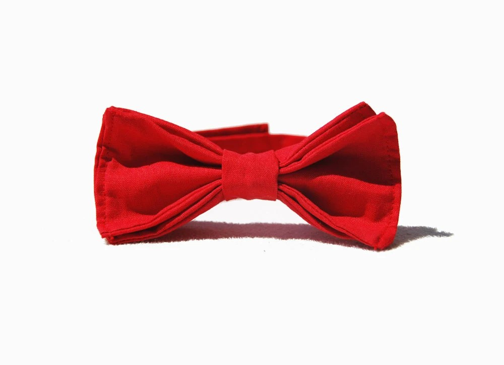 Boy Chic Red Bow Tie, Kids Outfit, Wedding, Toddler, Dandy Style - morion