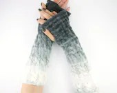 long knit fingerless gloves knit arm warmers fingerless mittens Cable knit grey ombre white fall curationnation - piabarile