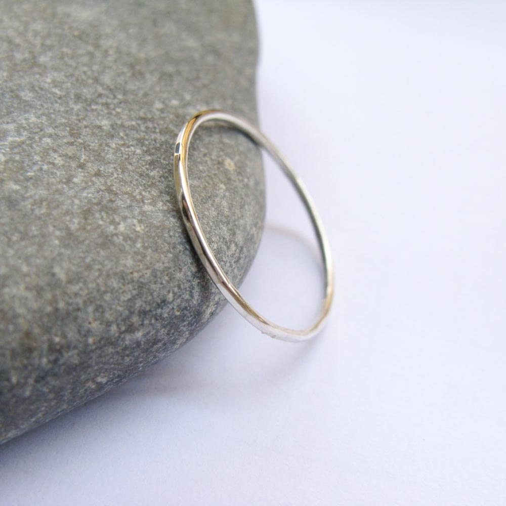 1mm Thin Stacking Ring Sterling Silver Slim Ring Simple