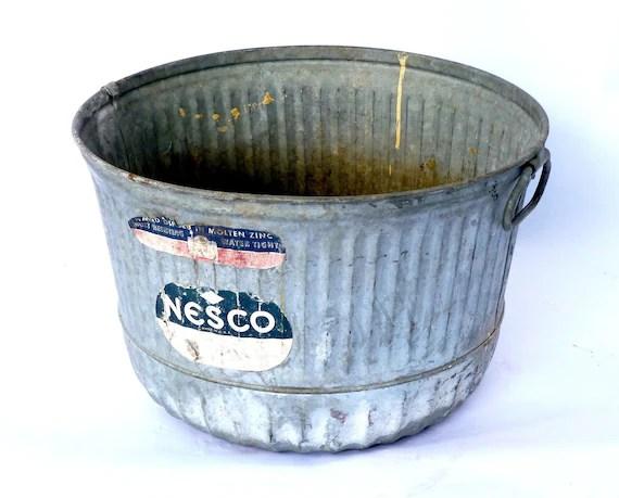 Large Vintage Zinc Bucket ... Pail Planter By Cushionchicago