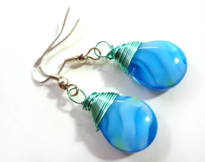 Teal and Turquoise Blue Teardrop Sire Wrapped Earrings - Glamour365