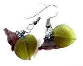 Purple and Green Glass Flowers Earrings on Hooks or Clip Ons - Glamour365