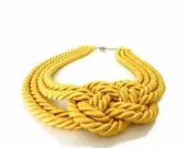 CIJ SALE - Yellow Rope, Nautical Statement Necklace - ChichiKnots