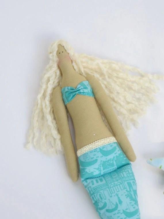 Sweet fabric doll Mermaid  and star,softie plush blonde cloth doll blue turquoise ,fairy tale doll.Handmade child friendly doll
