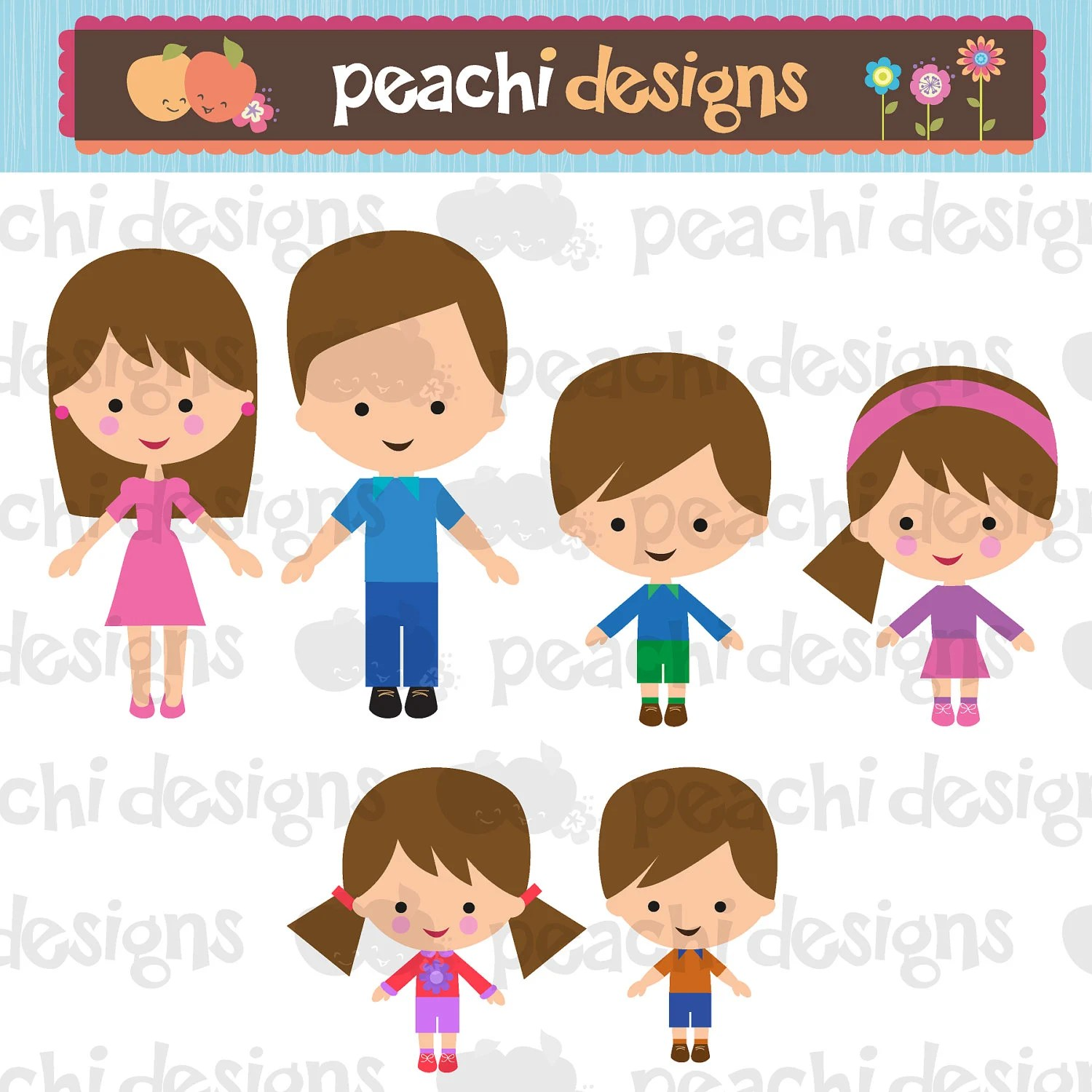 Family Characters Clipart Set By Peachidesigns On Etsy