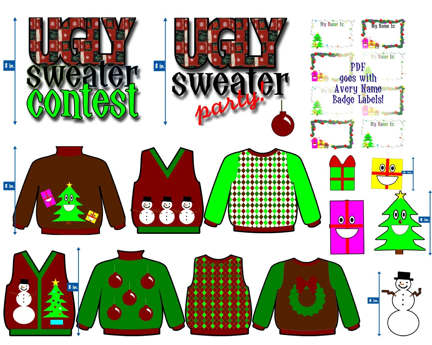 Christmas Clip Art Ugly Sweater Party Holiday Graphics